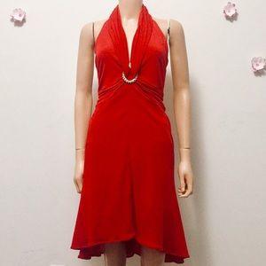 Tadashi Shoji Sexy Red Halter Dress (XS-US/S-UK)